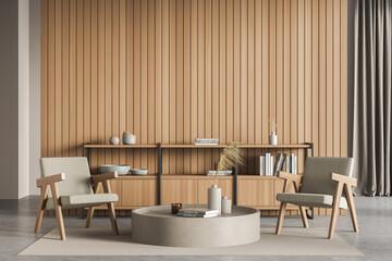 Fototapeta Wood, greyish textile and beige coffee table in the waiting room interior obraz