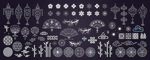 Fototapeta Collection of decorative elements in asian style with fan, lantern, paw prints, clouds, lanterns, flowers, tree branch, fireworks. Hand drawn vector oriental elements. obraz