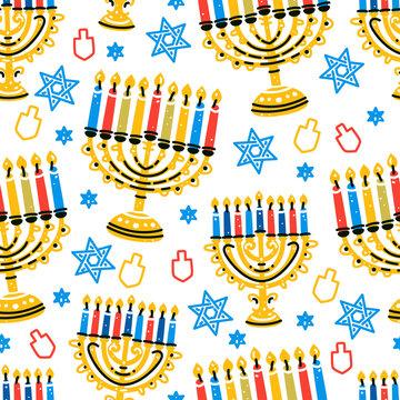 Hanukkah pattern in flat style on white background. Vector illustration. Jewish holiday background. Seamless vector texture. Cartoon illustration.