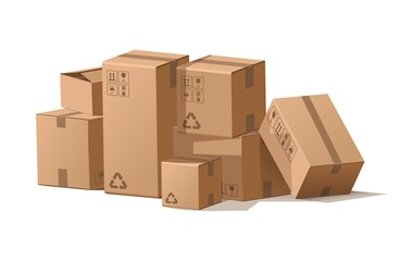 Cardboard boxes stack. Cartoon pile of delivery package for storage and shipping. Cargo in warehouse. Isolated square containers with recycling signs. Vector post mail illustration