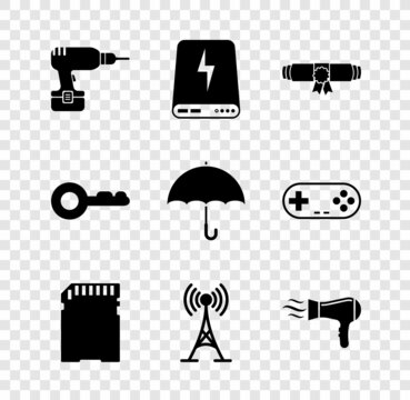 Set Drill machine, Power bank, Diploma rolled scroll, SD card, Antenna and Hair dryer icon. Vector