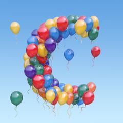 Fototapeta Letter С from balloons in the sky. Text letter for  holiday, birthday, celebration. 3d illustration obraz
