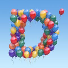 Fototapeta Letter D from balloons in the sky. Text letter for  holiday, birthday, celebration. 3d illustration obraz