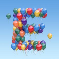 Fototapeta Letter E from balloons in the sky. Text letter for  holiday, birthday, celebration. 3d illustration obraz