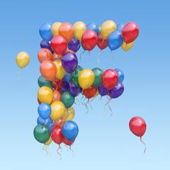 Fototapeta Letter F from balloons in the sky. Text letter for  holiday, birthday, celebration. 3d illustration obraz