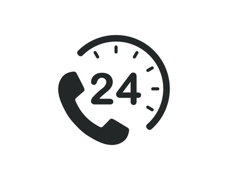24/7 Service open 24 h hours a day and 7 days a week icon. Shop support logo symbol sign button. Vector illustrator image. Isolated on white background.