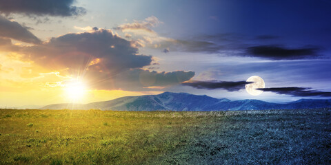 day and night time change concept above alpine mountain meadow in summer. beautiful landscape of carpathians with sun and moon on the sky