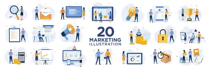 Set marketing Flat illustration design concept