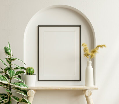 Interior poster mockup with vertical black frame in home interior background.