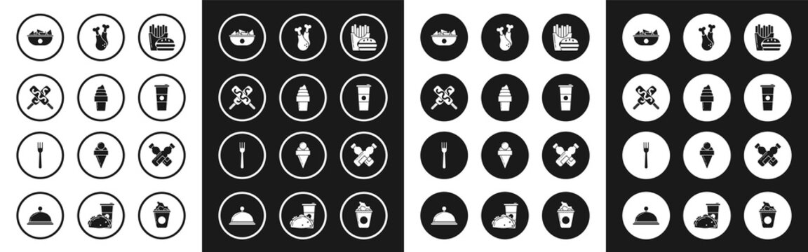 Set Burger and french fries in carton package box, Ice cream waffle cone, Nachos plate, Paper glass water, Chicken leg, Crossed bottle of and Fork icon. Vector