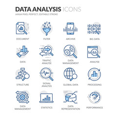 Obraz Line Data Analysis Icons - fototapety do salonu
