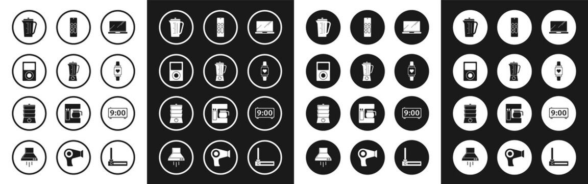 Set Laptop, Blender, Music player, Measuring cup, Smart watch showing heart beat rate, Remote control, Digital alarm clock and Double boiler icon. Vector