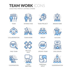 Fototapeta Line Team Work Icons obraz