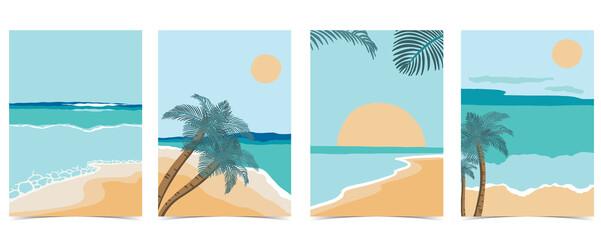 Fototapeta Beach postcard with sun,sea and sky in the daytime obraz