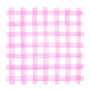 Light pink watercolor plaid illustration. Buffalo check, checked, chequered geometrical square background, watercolour stains. Hand brush drawn doodle style transparent crossing wide stripes texture.