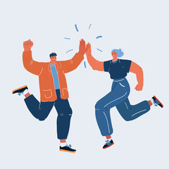 Fototapeta Vector illustration of man and woman congratulating each other. Giving a high fives gesture with their hands as they celebrate a business success obraz