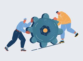 Fototapeta Vector illustration of people push gears together. Two man work together. obraz