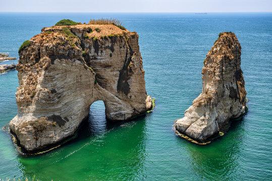 Raouche, or Pigeons Rock, Beirut, Lebanon.