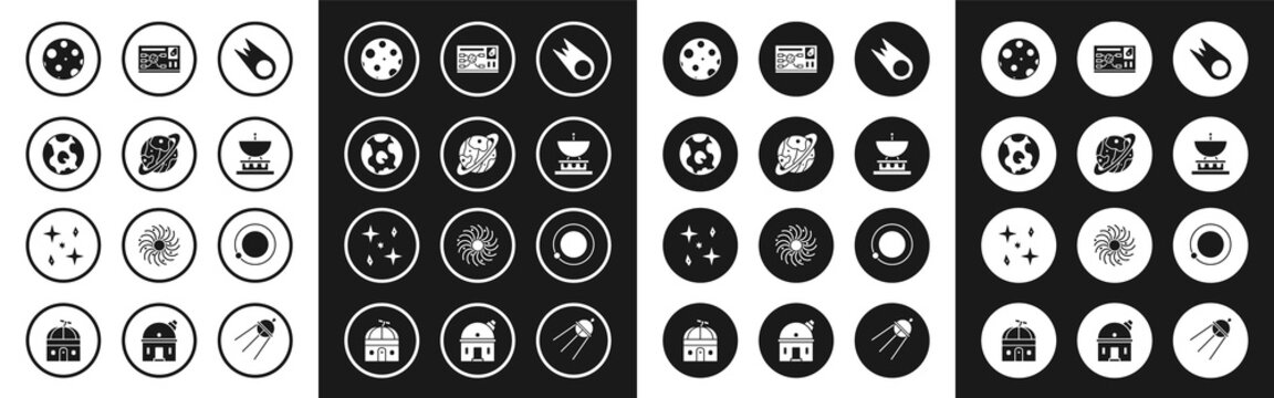 Set Comet falling down fast, Planet Saturn, Earth globe, Moon, Satellite dish, Futuristic hud interface, Satellites orbiting the planet and Falling stars icon. Vector