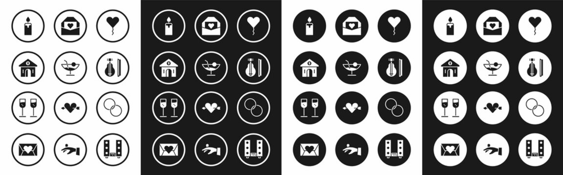 Set Balloon in form of heart, Cocktail, Church building, Burning candle, Violin, Envelope with Valentine, Wedding rings and Glass champagne icon. Vector