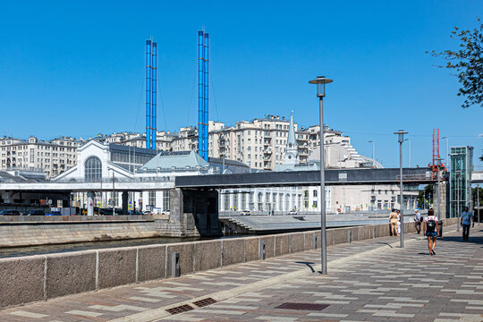 Patriarch's Bridge and the building of the former power plant with high blue pipes