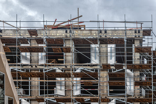 Scaffolding of a house under construction
