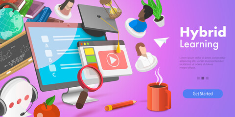 Obraz 3D Vector Conceptual Illustration of Hybrid or Blended Learning, Online Education - fototapety do salonu