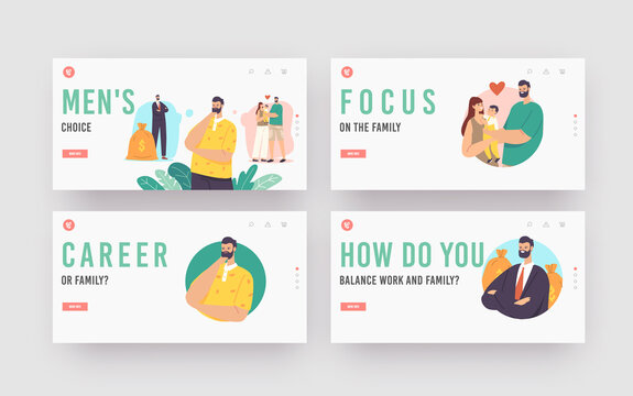 Men Choice Landing Page Template Set. Character Choose between Career and Family. Man Think about Life Priority Balance