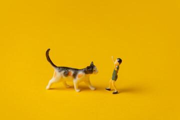 Fototapeta minature figure of boy and cat on yellow background obraz