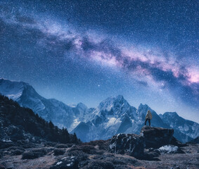Fototapeta Silhouette of a standing man on the stone, mountains and starry sky with Milky Way at night in Nepal. Sky with stars. Travel. Night landscape with snow-covered rocks and purple milky way. Space obraz