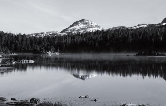 Black and white mountain reflection