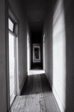 Black and white corridor