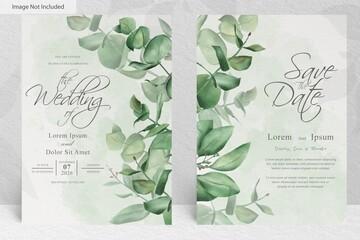 Obraz greenery wedding invitation card template with watercolor hand drawn eucalyptus - fototapety do salonu