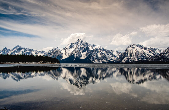 Mountains reflect over the lake