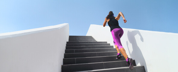 Fototapeta Stairs running workout athlete runner woman jogging doing hiit step up staircase high intensity interval training. Panoramic banner of active people lifestyle. obraz