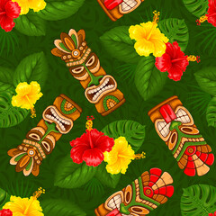 Tropical summer on paradise beach. Seamless color pattern with Tiki mask, hibiscus flowers. For wallpapers, web page backgrounds, surface textures, fabrics. Vector illustration.