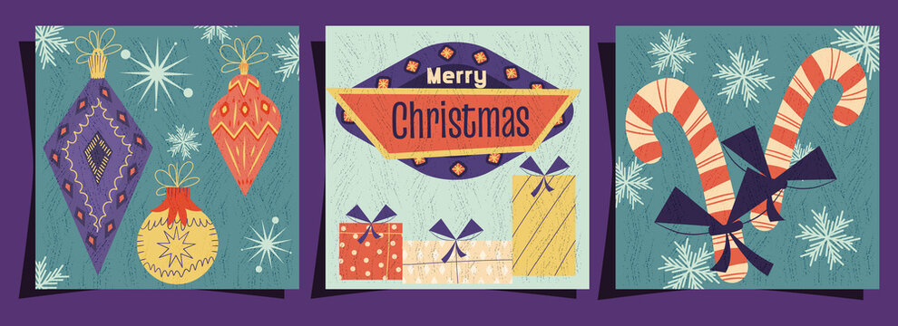 A set of merry Christmas covers in a retro vintage style. Signboard, Christmas toys and candy on postcards with texture. Vector illustration of Mid-Century Modern style design