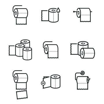 Toilet paper miscellaneous icons