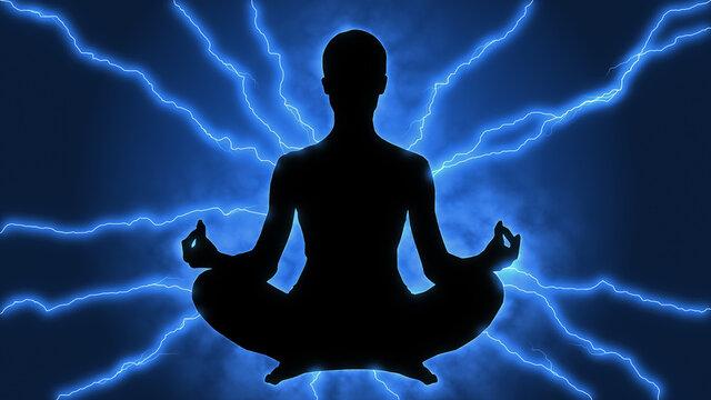 Meditation energy - yoga figure with energising lightning bolt electricity