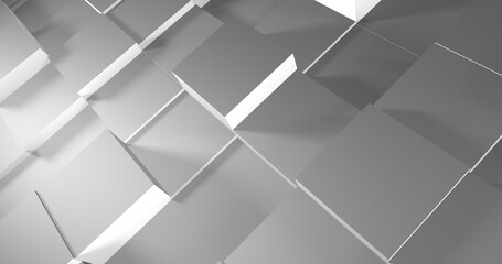 Obraz Abstract background from white and gray cubes. 3D objects casting shadows. Beautiful geometric decorative screensaver. - fototapety do salonu