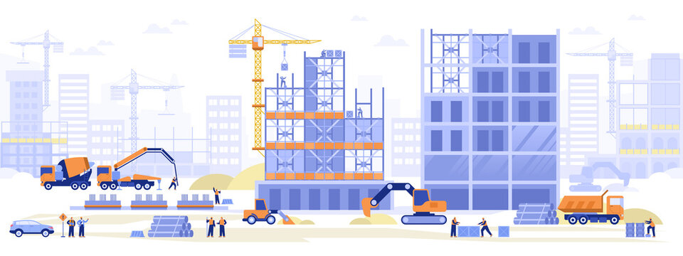Construction site concept. Builders working on building of house, excavators dig, cranes load blocks, pour concrete from concrete pump, make foundation. Vector illustration scene with tiny characters