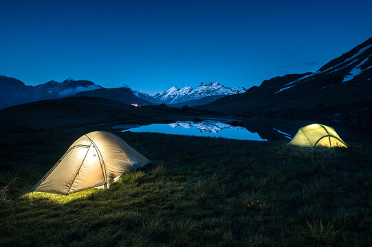 camping in the wild of Melchseefrutt with Mount Titlis