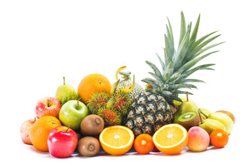 Various fresh fruits isolated on white background, Group of fresh fruits arrangement on white, Ripe...