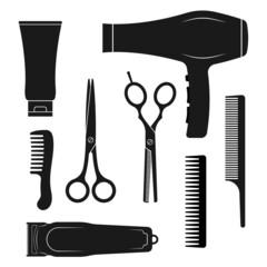 Fototapeta Hairdresser tools icon set. Hair salon equipment silhouettes. Accessories for haircut with scissors, comb, brush, dryer. Vector illustration. obraz
