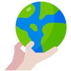 Fototapeta save the world flat icon obraz