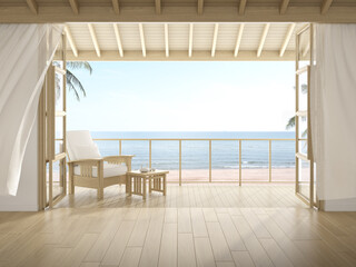 3d rendering of modern luxury room with wooden chair on sea background, Large window and door.