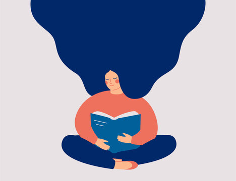 Happy woman sits and reads the book with enjoy. Book therapy session. Mental health concept. Vector illustration