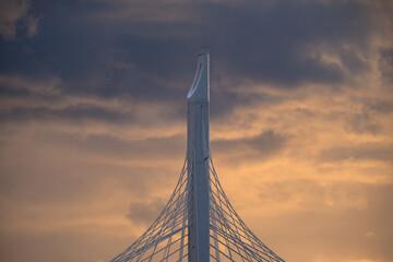 Fototapeta premium Suspension bridge tower with cables