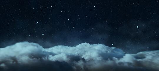 Fototapeta Creative cloudy night sky background. Landing page concept. obraz