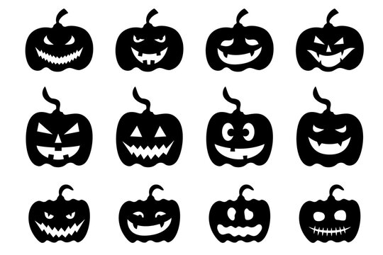 Set of black pumpkin for Halloween party design